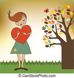 молодой, сердце, девушка, романтический, большой