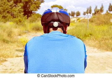 молодой, человек, верховая езда, , гора, велосипед