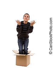 молодой, человек, внутри, , коробка