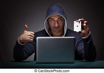 молодой, человек, носить, , hoodie, сидящий, перед, ,...