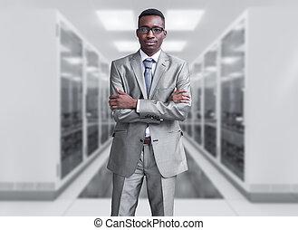 молодой, черный, человек, в, сервер, комната