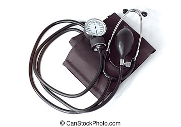 монитор, медицинская, руководство, isolated, давление, кровь...