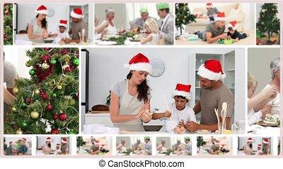 монтаж, families, рождество, расходы, вместе