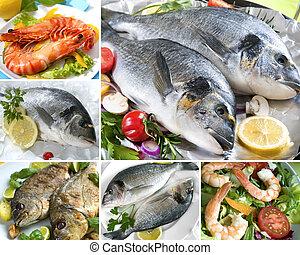 морепродукты, коллаж