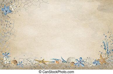 морская ракушка, сеть, граница, морская звезда