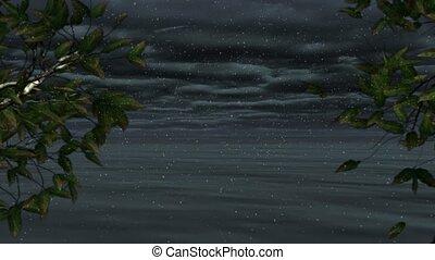 морской пейзаж, анимация, loopable, прибрежная, снежно