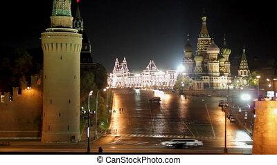 москва, кремль, пейзаж, ночь