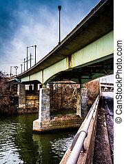 мосты, филадельфия, над, pennsylvania., schuylkill, река