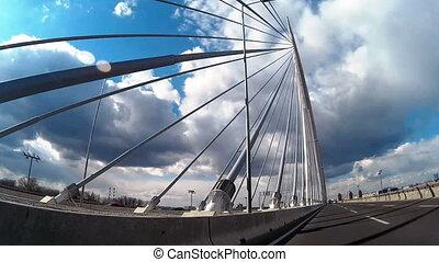 мост, над, водить машину, кабель, автомобиль