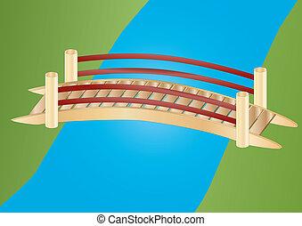 мост, немного, над, ручей