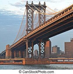 мост, новый, йорк, манхеттен, usa
