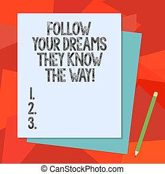 мотивация, цвет, фото, знак, бумага, пустой, следовать, ваш, пастельный, другой, текст, концептуальный, pencil., получить, показ, строительство, знать, oни, стек, dreams, вдохновение, успех, way., связь