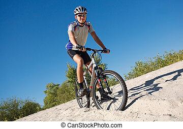 , мужской, велосипедист, верховая езда, байк