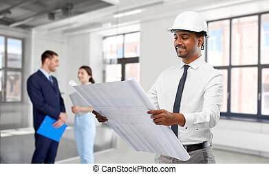 мужской, индийский, план, архитектор, шлем