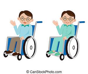 мужской, пациент, в, , инвалидная коляска