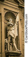 мужской, статуя, держа, , флаг