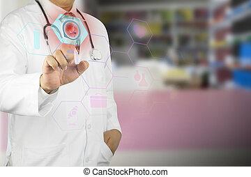 мужской, стетоскоп, за работой, врач