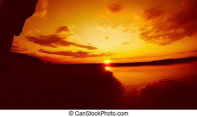 музыкант, оранжевый, играть, гитарист, закат солнца, starts...