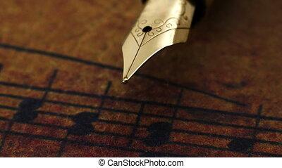 музыка, лист, фонтан, вверх, ручка, закрыть