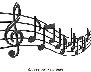 музыка, notes, на, staves