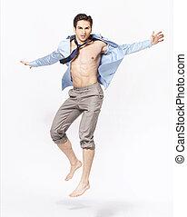 мускулистый, молодой, человек, носить, полировка, рубашка