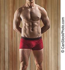 , мускулистый, мужской, торс, на, , задний план, of, , деревянный, стена