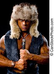 мускулистый мужчина, воин, with, , меч, в, , мех, шапка