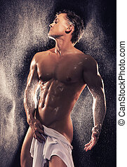 мускулистый, парень, having, ванна