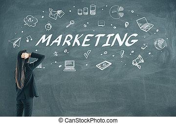 мышление, бизнес-леди, эскиз, ищу, маркетинг