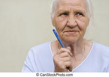 мышление, женщина, пожилой