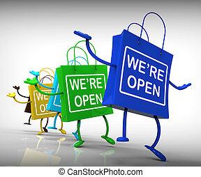 мы, открытый, мешки, показать, поход по магазинам,...