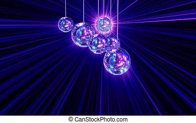 мячи, красочный, дискотека, трусливый, задний план, зеркало