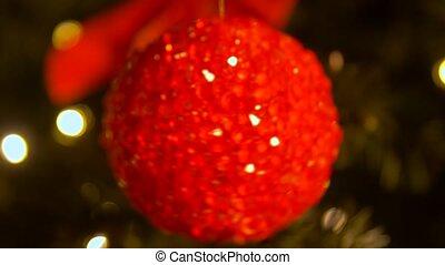 мяч, ель, размытый, дерево, рождество, украшение
