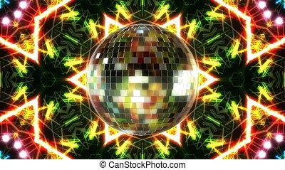 мяч, оказывать, animation., дискотека, вращение, петля, 3d