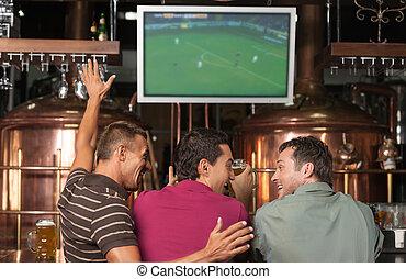 наблюдение, fans., игра, паб, три, fans, футбольный,...