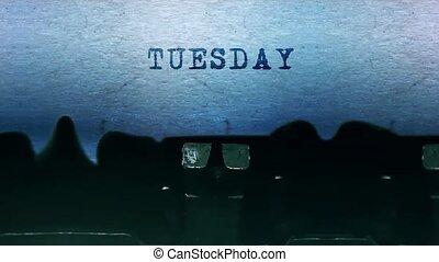 набрав, typewriter., бумага, лист, марочный, words, старый, вторник