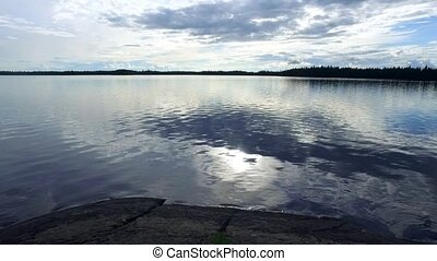 над, закат солнца, лес, озеро