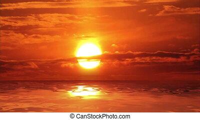 над, закат солнца, море