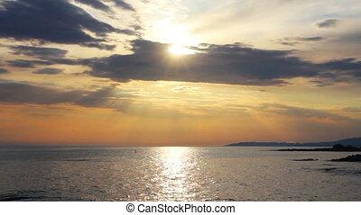 над, закат солнца, пейзаж, море