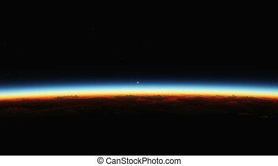 над, земля, планета, поднимающийся, солнце