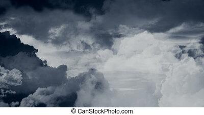 над, летающий, clouds