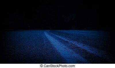 над, перемещение, лес, ночь, через, дорога