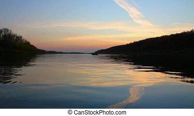 над, река, закат солнца, пейзаж