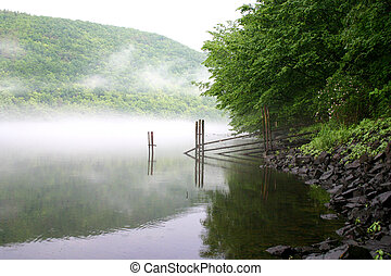 над, река, туман