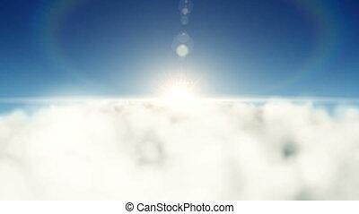 над, clouds, солнце, backwards, летающий