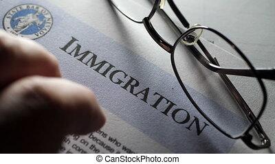 нажав, fingers, форма, иммиграция