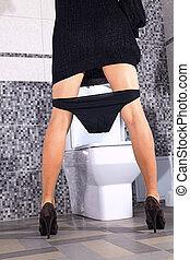 назад, миска, туалет, женщина, stays