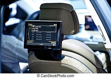 назад, сиденье, автомобиль, дисплей