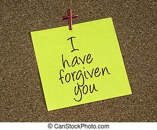 , напоминание, заметка, with, , заявление, что, иисус, forgives