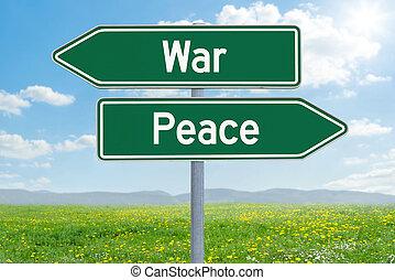 направление, мир, -, два, война, зеленый, знаки, или